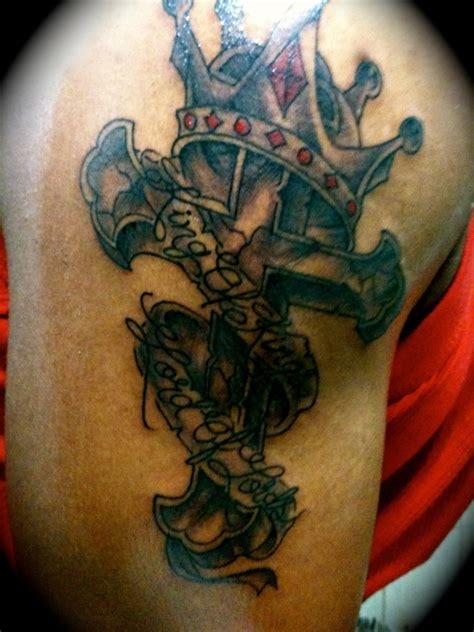 cross with crown tattoo designs crown cross king of lord of picture at
