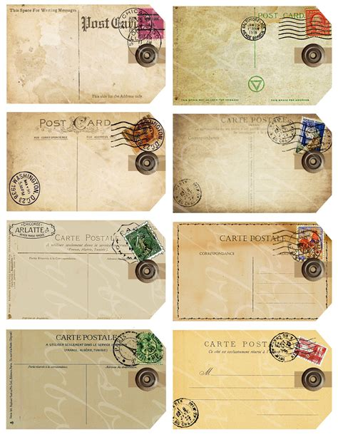 printable vintage tags template eight gift tags from antique and vintage postcards by
