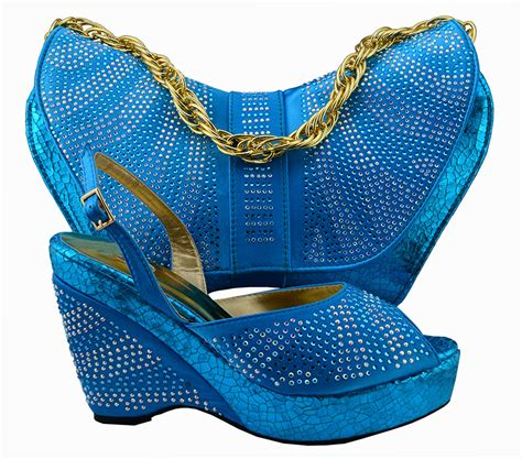 Promo High Quality Pouch Bag Set Blue Tmc size38 42 blue italian shoes with matching bag high quality high heels and bag with