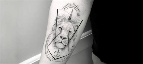 minimalist tattoo lion single needle tattoos scene360