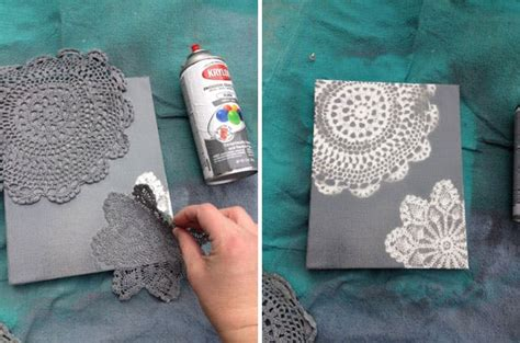 15 super easy diy canvas painting ideas for artistic home 15 creative ways to use a doily brit co