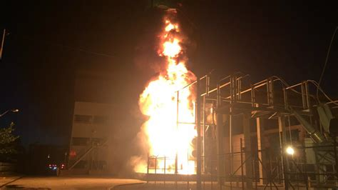florida power light firefighters battle fire at florida power light plant in