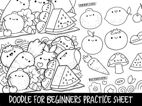 doodle for beginner doodle for beginners ep2 reference practice printable kawaii