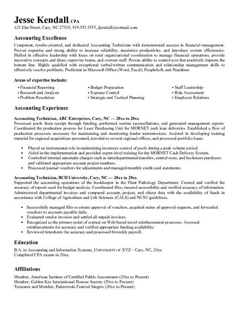 Resume Exles Accounting Position Exle Accounting Technician Resume Free Sle