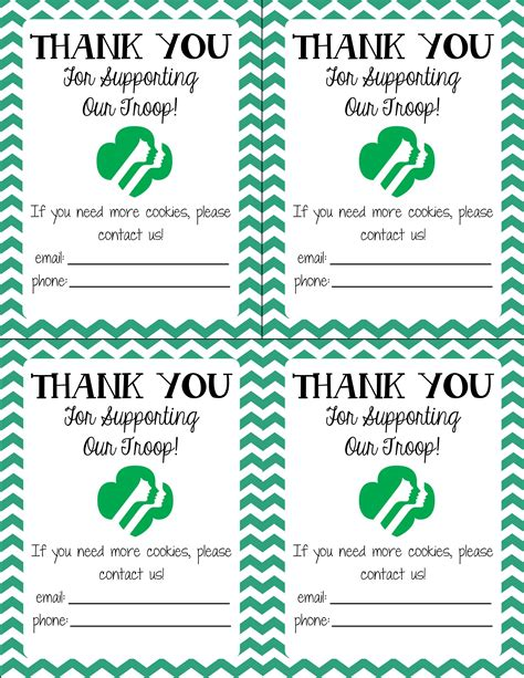 scout cookie thank you card template thank you notes get s