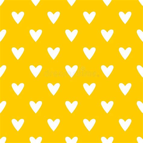 yellow heart pattern tile cute vector pattern with white hearts on yellow