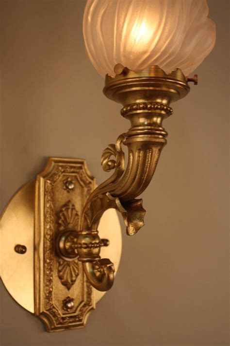 Torch Wall Sconce Pair Of Bronze Torch Glass Wall Sconces For Sale At 1stdibs