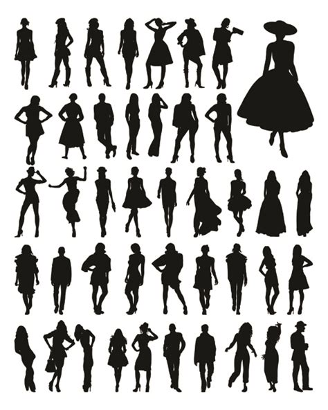 fashion silhouettes vector material vector