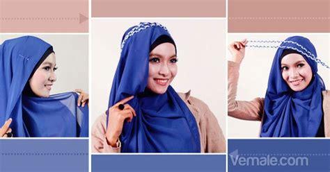 tutorial kerudung pashmina bahan licin cara memakai jilbab pashmina chiffon biru fresh cara