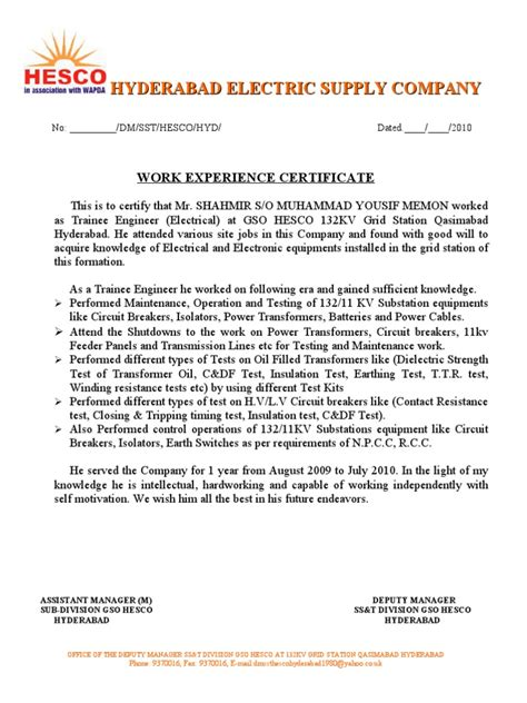 Work Experience Certificate Electrical Engineer Work Experience Certificate 1