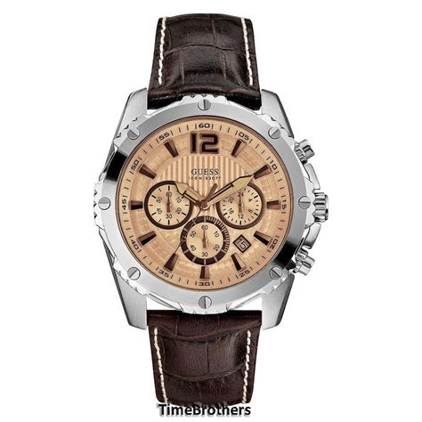 Guess Romawi Date Leather Brown new guess for chronograph date brown