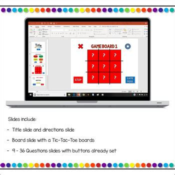 Editable Tic Tac Toe Powerpoint Game Template By Teacher Gameroom Tic Tac Toe Template Powerpoint