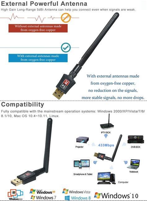 600 mbps dual band 2 4 5ghz wireless usb wifi network adapter 802 11ac w antenna ebay