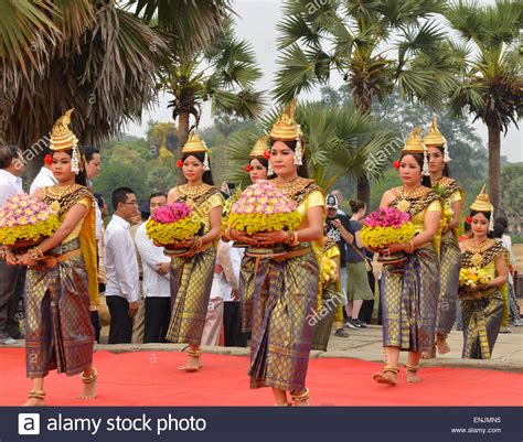 khmer new year at angkor wat in siem reap cambodia stock