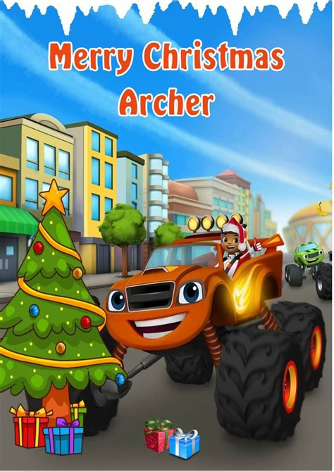 Christmas Gift Card Printing Machine - personalised blaze and the monster machines christmas card