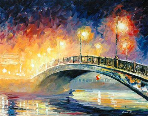 painting work bridge palette knife oil painting on canvas by leonid