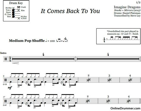 download imagine dragons it comes back to you mp3 it comes back to you imagine dragons drum sheet music