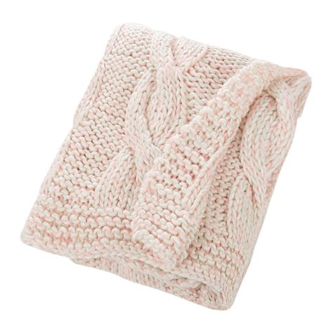white knitted throw buy bloomingville knitted throw pink white amara