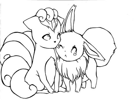 pokemon coloring pages of vulpix eevee and vulpix by hapimana on deviantart