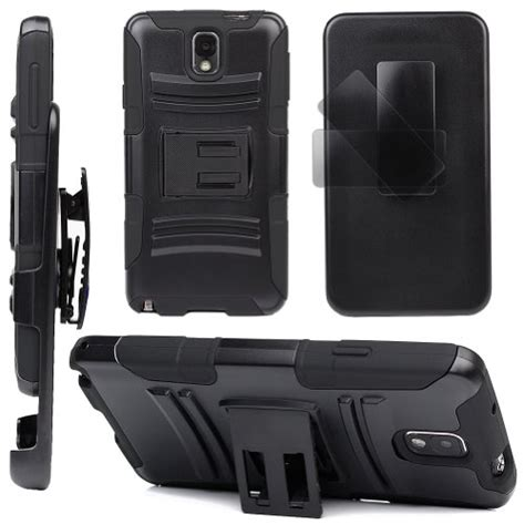 Stand Holster Belt Clip Samsung Note 3 Dual Armor Future Hybird evecase robust rugged dual layer holster with belt