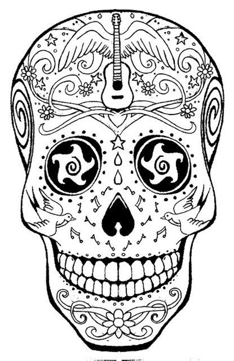 american hippie art coloring page music sugar skull