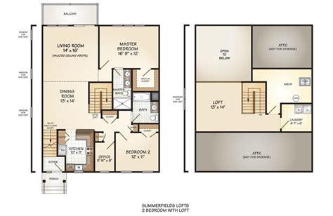 luxury 2 bedroom with loft house plans new home plans design