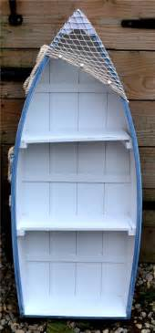 62cm wooden blue white rowing boat shelves nautical
