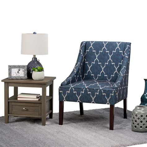 blue printed accent chairs simpli home hayworth cobalt blue fabric arm chair axcchr