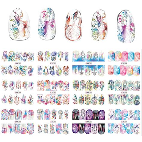 Nail Sticker Water Decal For Nail Stiker Kuku 24 new 12 sheets lot mix owl catcher nail water transfer decal sticker for nail