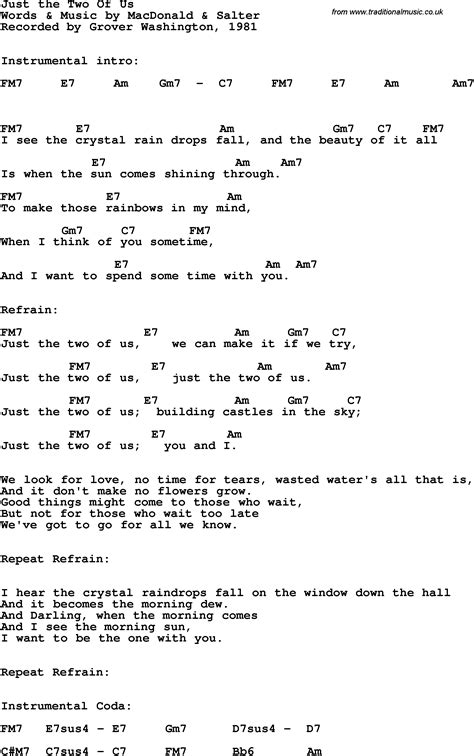 Just The Two Of Us Guitar Chords