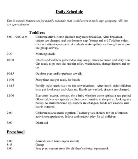 daycare schedule template daycare schedule template 7 free word pdf format