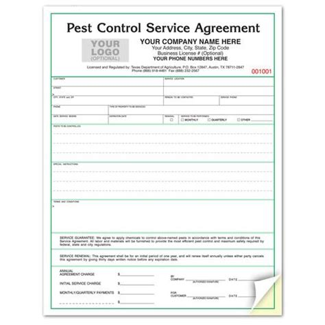pest forms templates pest service agreements