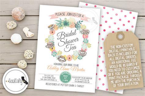 bridal shower invitation tea party shabby chic