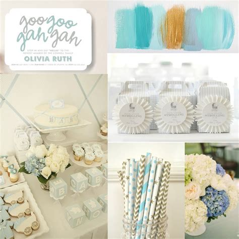 Blue And Gold Baby Shower by Soft Colors Baby Shower Mood Board Blue Gold