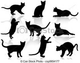 stock illustraties van poezen silhouette illustratie gekke poezen csp0654177