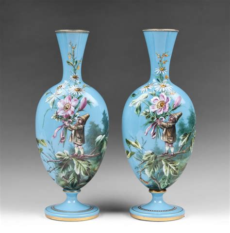 Opaline Glass Vase pair of harrach bohemian opaline glass enamel vases with