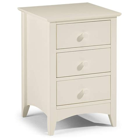 Bedside Tables With Storage White Julian Bowen Cameo Bedside Table 3 Drawers