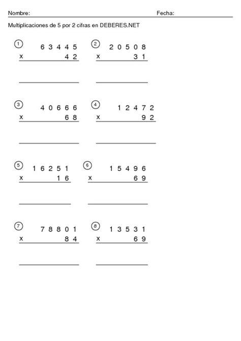 Multiplicaciones de 5 por 2 cifras