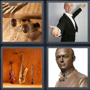 4 Letter Words Out Of Flute 4 pics 1 word answer for singer instruments bust