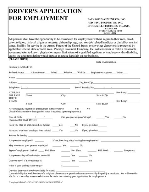 truck driver employment application form template best photos of printable blank application for employment