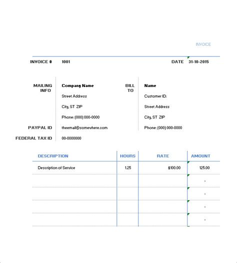 hourly invoice template hourly invoice template 6 free sle exle format