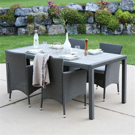Walker Edison Furniture Company Gray Rattan 5 Piece