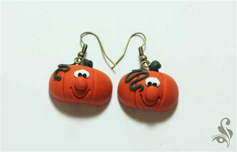 place for talents handmade pumpkin earrings from polymer clay