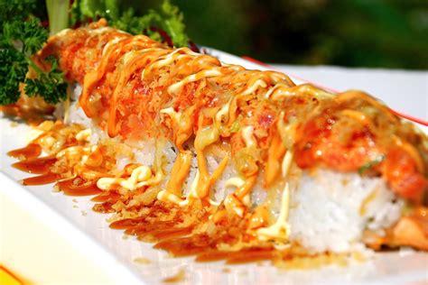 roll sushi volcano roll sushi recipe dishmaps