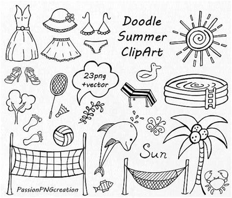 doodle mode big set of doodle summer cliparts by