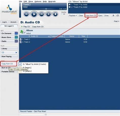 format cd wma musicmatch jukebox extraire des fichiers audio de cd dans
