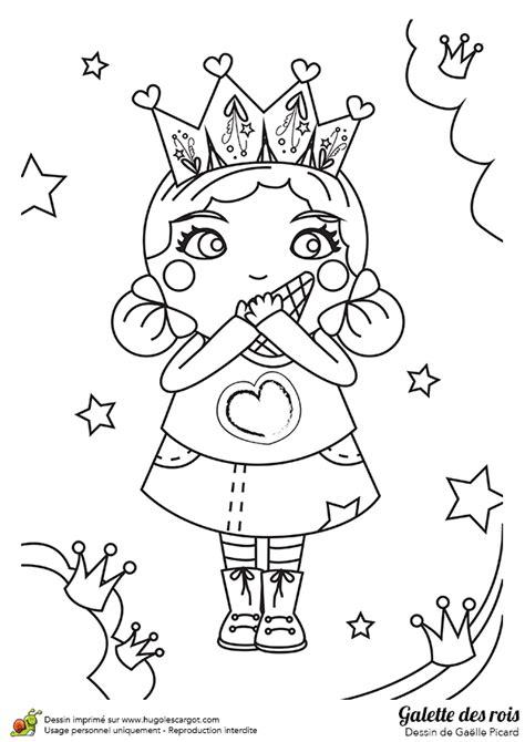 Dessin à colorier d'une petite fille qui mange une galette