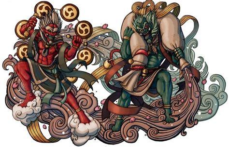 doodle demonios raijin god of thunder and lightning and fujin god of