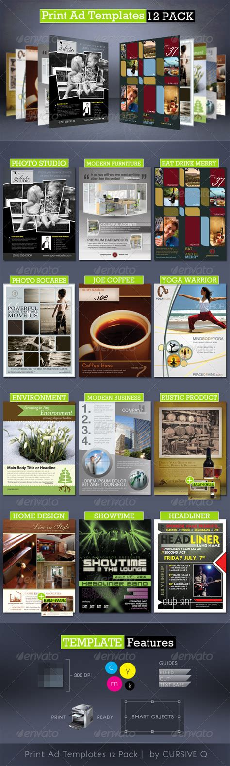 print ad templates 12 pack full page magazine ads psd on