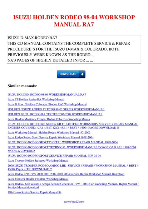 small engine repair manuals free download 1998 isuzu oasis security system isuzu holden rodeo 98 04 workshop manual ra7 by nana hong issuu